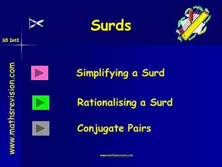 Surds Simplifying a Surd Rationalising a Surd Conjugate Pairs