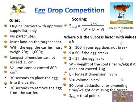 Rules: Original carriers with approved supply list, only. No parachutes. Must land on the target sheet. With the egg, the carrier must weigh 70g - 1,000g.