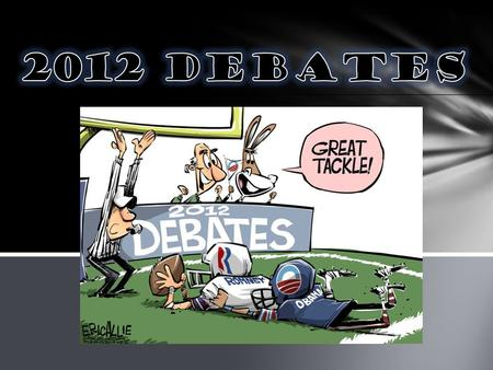 This political cartoon was published on Oct. 23, 2012 by the artist Eric Allie. The cartoon represents the Presidential debates between Senator Mitt Romney.