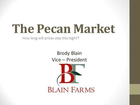 The Pecan Market How long will prices stay this high?? Brody Blain Vice – President.