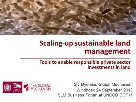 Scaling-up sustainable land management Tools to enable responsible private sector investments in land Siv Øystese, Global Mechanism Windhoek 24 September.