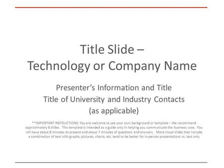 Title Slide – Technology or Company Name
