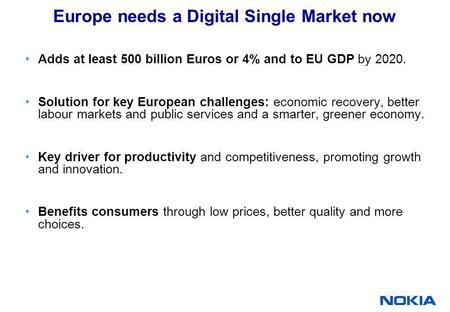 Europe needs a Digital Single Market now Adds at least 500 billion Euros or 4% and to EU GDP by 2020. Solution for key European challenges: economic recovery,