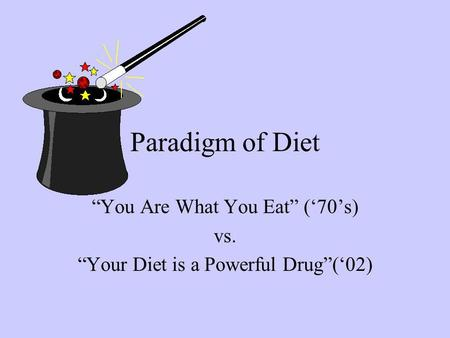Paradigm of Diet You Are What You Eat (70s) vs. Your Diet is a Powerful Drug(02)