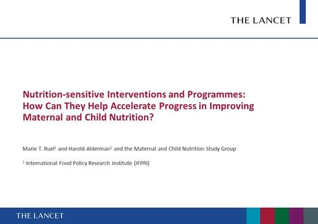 Nutrition-sensitive Interventions and Programmes: