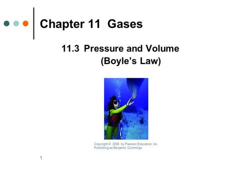 1 Chapter 11Gases 11.3Pressure and Volume (Boyles Law) Copyright © 2008 by Pearson Education, Inc. Publishing as Benjamin Cummings.