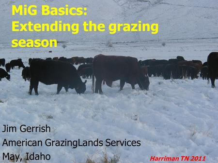 MiG Basics: Extending the grazing season Jim Gerrish American GrazingLands Services May, Idaho Harriman TN 2011.