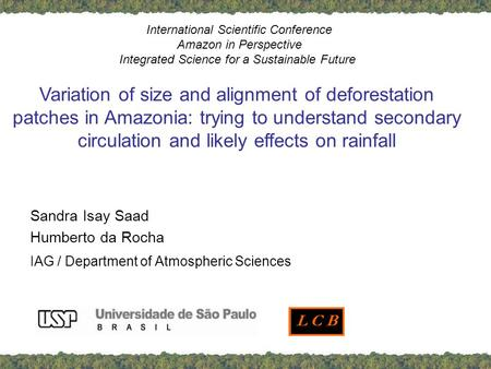 Sandra Isay Saad Humberto da Rocha IAG / Department of Atmospheric Sciences International Scientific Conference Amazon in Perspective Integrated Science.