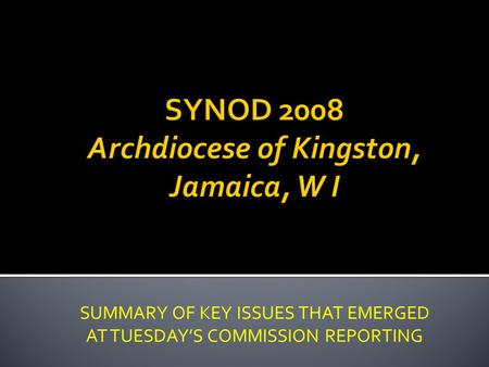 SUMMARY OF KEY ISSUES THAT EMERGED AT TUESDAYS COMMISSION REPORTING.