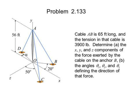 Problem y A Cable AB is 65 ft long, and 56 ft