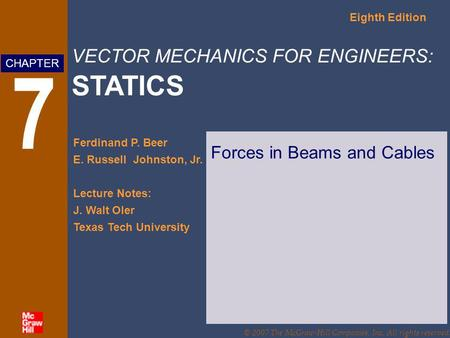 Forces in Beams and Cables