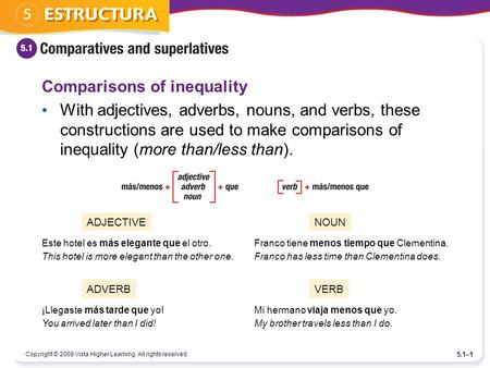 Copyright © 2008 Vista Higher Learning. All rights reserved. 5.1–1 Comparisons of inequality With adjectives, adverbs, nouns, and verbs, these constructions.