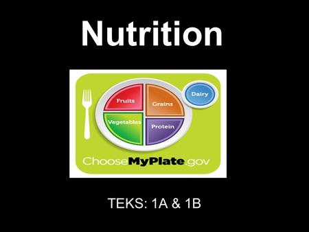 Nutrition TEKS: 1A & 1B. Calories Units of heat that measure energy used by the body Energy that food supplies to the body Good Calories are calories.