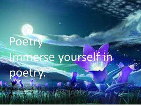 Immerse yourself in poetry!