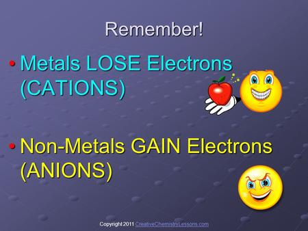 Copyright 2011 CreativeChemistryLessons.comCreativeChemistryLessons.comRemember! Metals LOSE Electrons (CATIONS)Metals LOSE Electrons (CATIONS) Non-Metals.