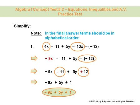 Algebra I Concept Test # 2 – Equations, Inequalities and A.V.
