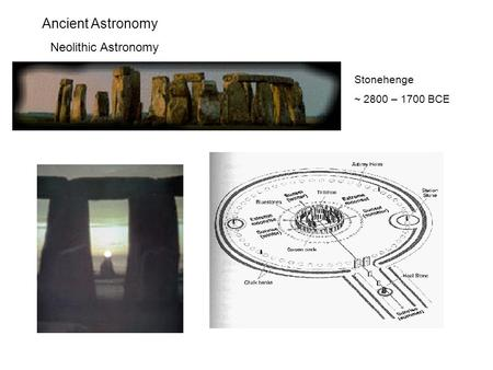 Ancient Astronomy Neolithic Astronomy Stonehenge ~ 2800 – 1700 BCE.