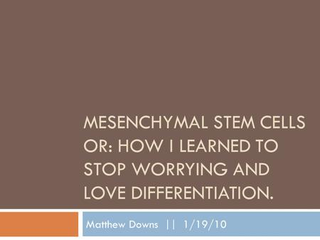 MESENCHYMAL STEM CELLS OR: HOW I LEARNED TO STOP WORRYING AND LOVE DIFFERENTIATION. Matthew Downs || 1/19/10.