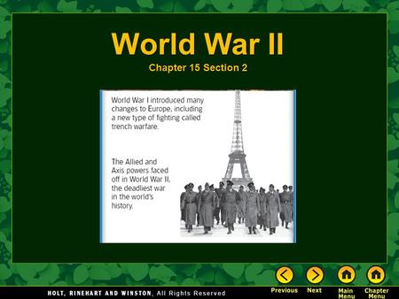 World War II Chapter 15 Section 2.