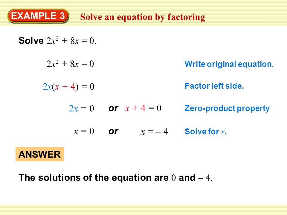 Example 3 Solve An Equation By Factoring Solve 2x 2 8x 0 2x 2 8x 0 2x X 4 0 2x 0 X 0 Or X 4 0 Or X 4 Answer The Solutions Of Ppt Download