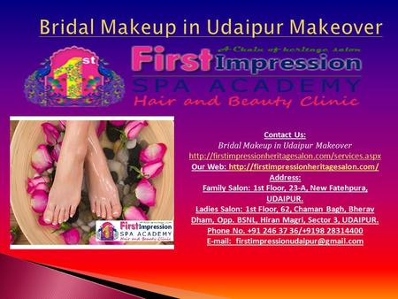 Contact Us: Bridal Makeup in Udaipur Makeover  Our Web: