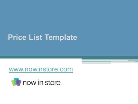 Price List Template - www.nowinstore.com