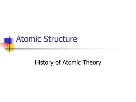 History of Atomic Theory