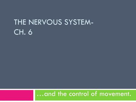 …and the control of movement.