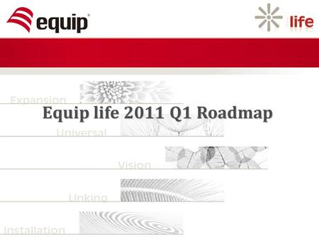 Equip life 2011 Q1 Roadmap. Content 2011 Q1 New Products 2011 Q1 Roadmap.