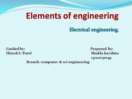 Elements of engineering