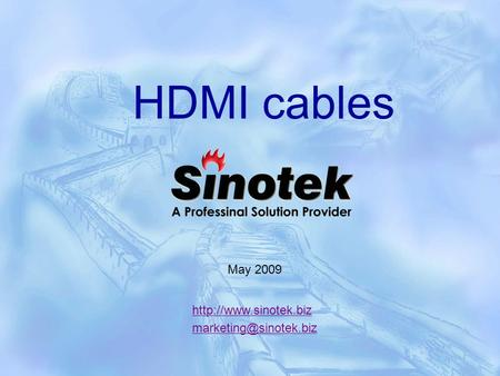 HDMI cables May 2009