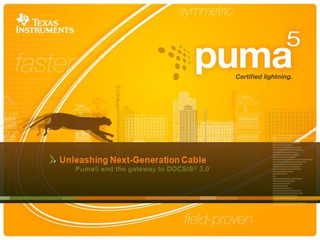 Unleashing Next-Generation Cable Puma5 and the gateway to DOCSIS ® 3.0.