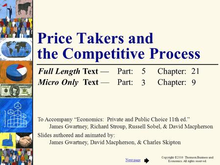 To Accompany Economics: Private and Public Choice 11th ed. James Gwartney, Richard Stroup, Russell Sobel, & David Macpherson Slides authored and animated.