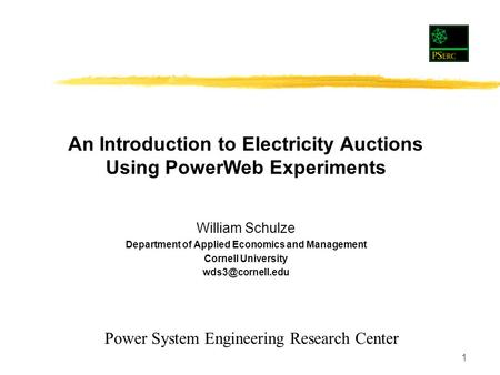 1 William Schulze Department of Applied Economics and Management Cornell University An Introduction to Electricity Auctions Using PowerWeb.