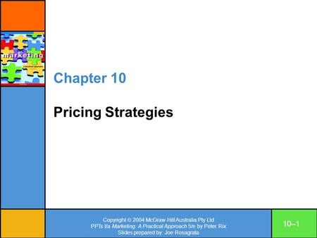 Chapter 10 Pricing Strategies