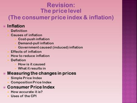 Revision: The price level