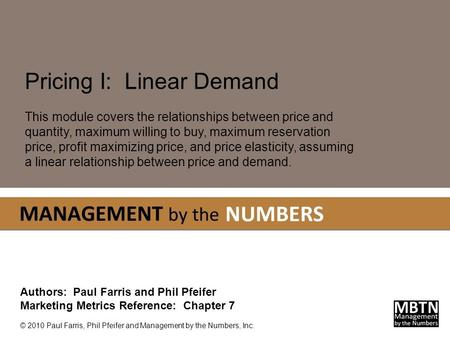 Pricing I: Linear Demand
