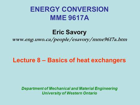 ENERGY CONVERSION MME 9617A Eric Savory