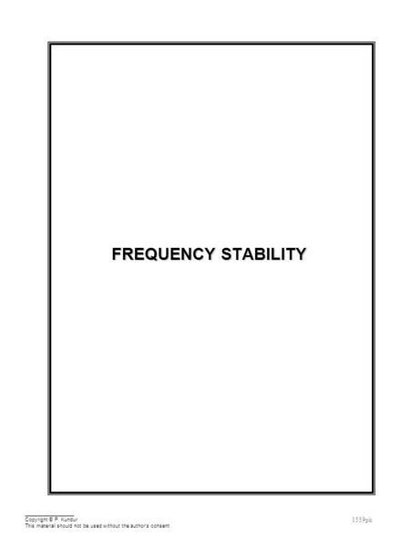 Frequency <strong>Stability</strong> Outline