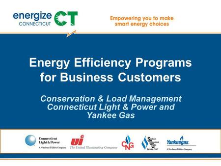 Energy Efficiency Programs for Business Customers Conservation & Load Management Connecticut Light & Power and Yankee Gas.