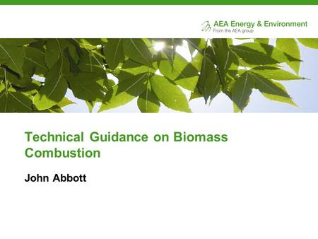 Technical Guidance on Biomass Combustion John Abbott.