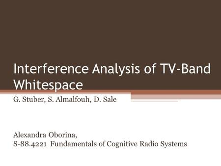 Interference Analysis of TV-Band Whitespace