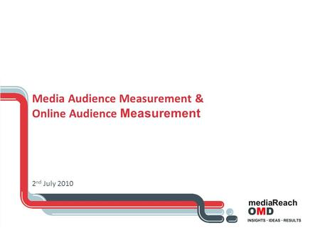 Media Audience Measurement & Online Audience Measurement 2 nd July 2010.