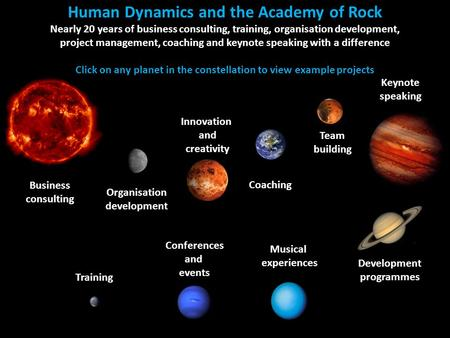 Human Dynamics Consulting, Training, Coaching and Speaking The Academy of Rock Conferences and events with a difference Business consulting Human Dynamics.