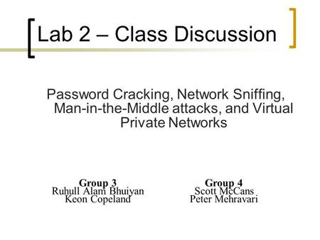 Password Cracking, Network Sniffing, Man-in-the-Middle attacks, and Virtual Private Networks Lab 2 – Class Discussion Group 3 Ruhull Alam Bhuiyan Keon.