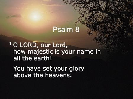 Psalm 8 1 O LORD, our Lord, how majestic is your name in all the earth! You have set your glory above the heavens. 1 O LORD, our Lord, how majestic is.