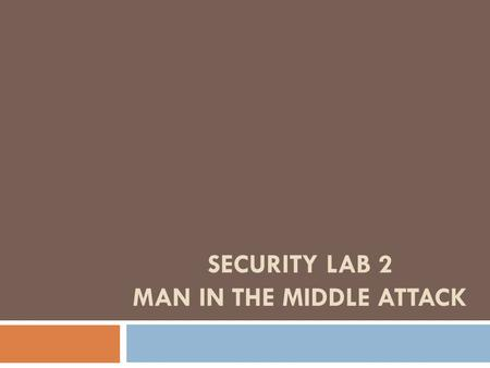 Security Lab 2 MAN IN THE MIDDLE ATTACK