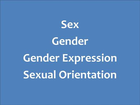 Sex Gender Gender Expression Sexual Orientation. Gender Identity Biological Sex Gender Expression Sexual Orientation.