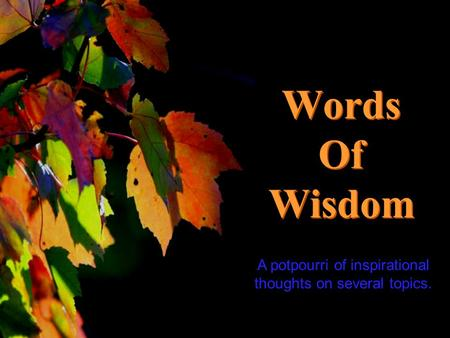 CLICK TO ADVANCE SLIDES Turn on your speakers! Turn on your speakers! Words Of Wisdom Words Of Wisdom A potpourri of inspirational thoughts on several.