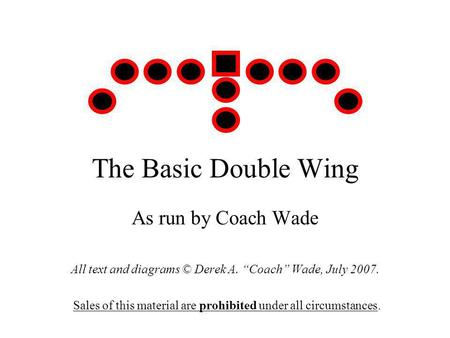 The Basic Double Wing As run by Coach Wade